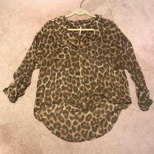 Free people sheer leopard high low top